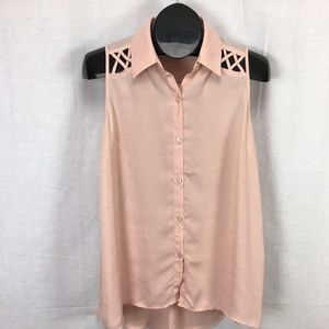 Soprano Button Front Blouse Shirt Large Peach